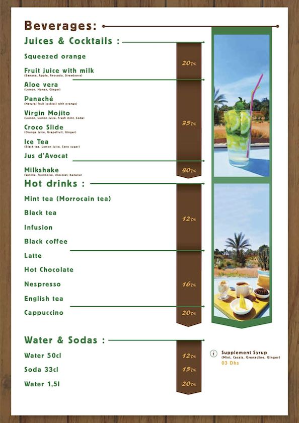 "Menu - Beverages and Juice ""La Table du Croco"" - Crocoparc Agadir"