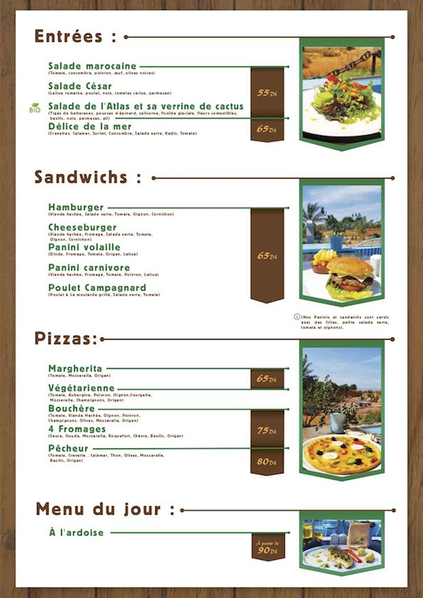 Menu du restaurant la Table du Croco de Crocoparc Agadir