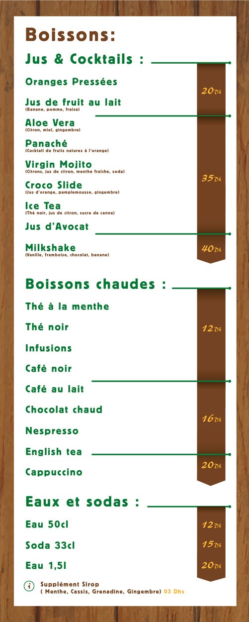 Menu boissons de la Table du Croco de Crocoparc Agadir