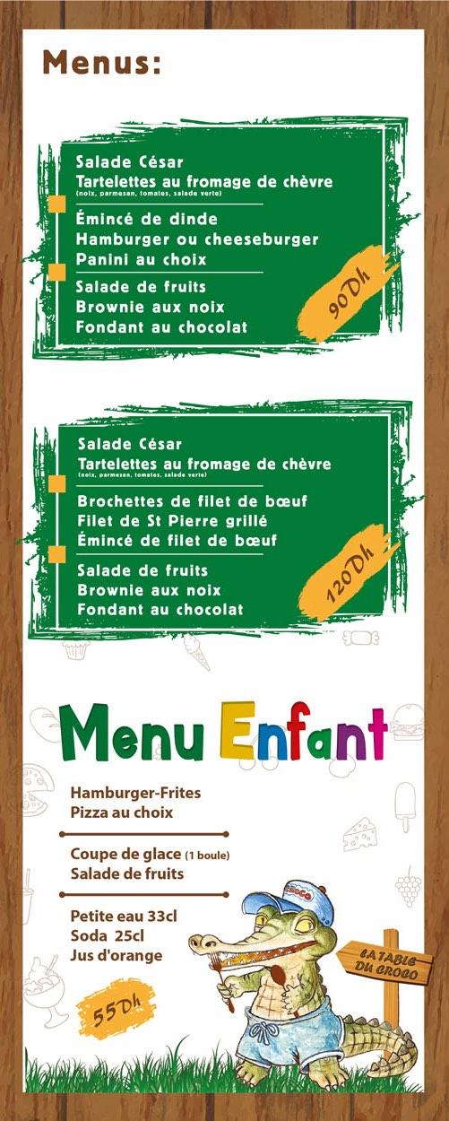 Menu boissons de la Table du Croco de Crocoparc Agadir