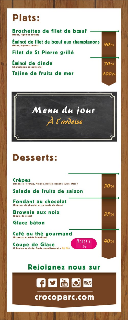 Menu desserts et enfant de la Table du Croco